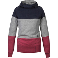 BUTTON Hoody Schwerelosigkite Women blue denim red melange