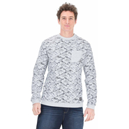 Picture Paul Print Crew Sweater light grey