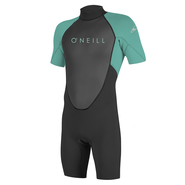 ONEILL Youth Reactor-2 2mm Back Zip S/S Spring Blk/Ltaqua 8