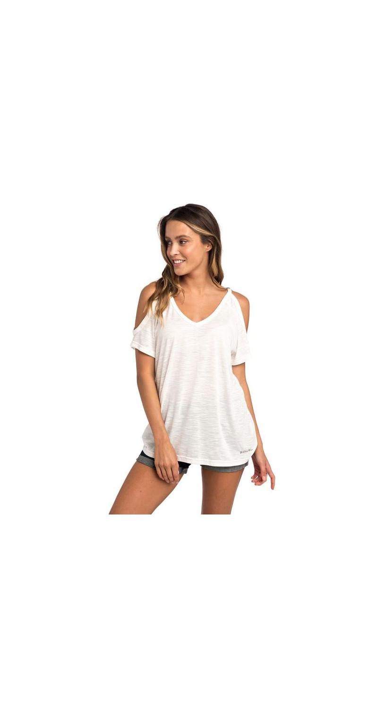 Rip Curl Salty Cold Shoulder T-Shirt white L 40 GTEVN4