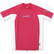 GIRLS SKINS CREW Kurzarm UV-Shirt O´Neill rouge/white
